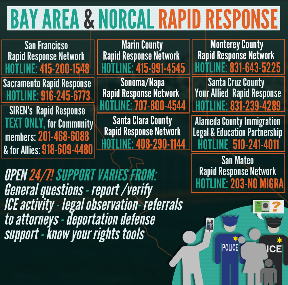 Northern California Rapid Response Hotlines